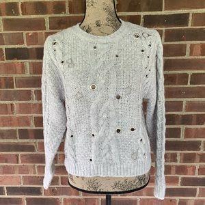 NWOT Zara light grey sweater metal hook